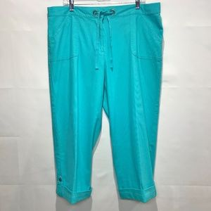 Ruby Rd Capris Crop Turquoise Pants sz 16